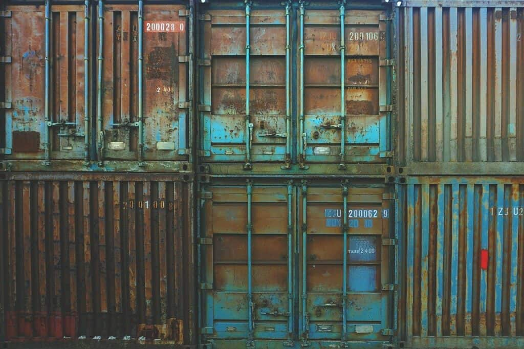 containers, storage, rusted